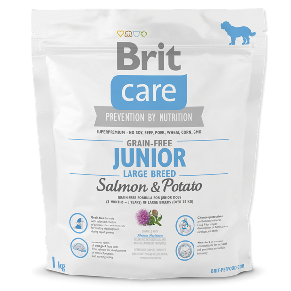 BRIT Care dog Grain free Junior Large Breed Salmon & Potato 1 kg