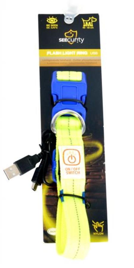 Obojok DUVO+ LED Svietiaci dog neónový žltý nylon 30-40cm/ 2,5 cm