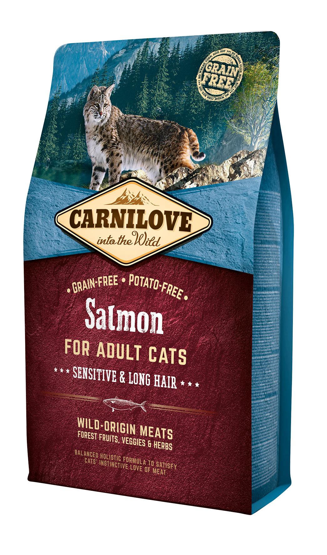 Carnilove Salmon for Adult Cats – Sensitive & Long Hair 2kg