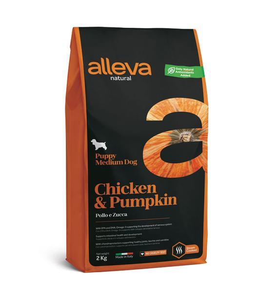 Alleva NATURAL dog chicken&pumpkin puppy medium 12 kg