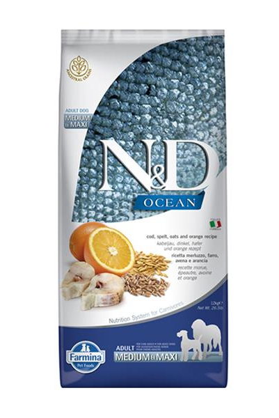 N&D dog OCEAN adult Medium & Maxi Codfish, spelt, oats and orange 2,5 kg