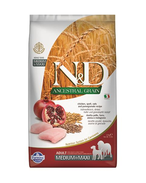 N&D dog AG adult medium&maxi chicken,spelt,oats & pomegranate 12 kg