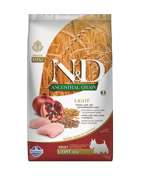 N&D dog AG Light adult mini Chicken, spelt, oats & pomegranate 2,5 kg