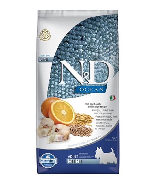 N&D dog OCEAN (AG) adult mini Codfish, spelt, oats & orange 2,5 kg