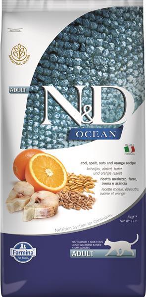 N&D cat OCEAN (AG) adult codfish,spelt,oats&orange 5kg