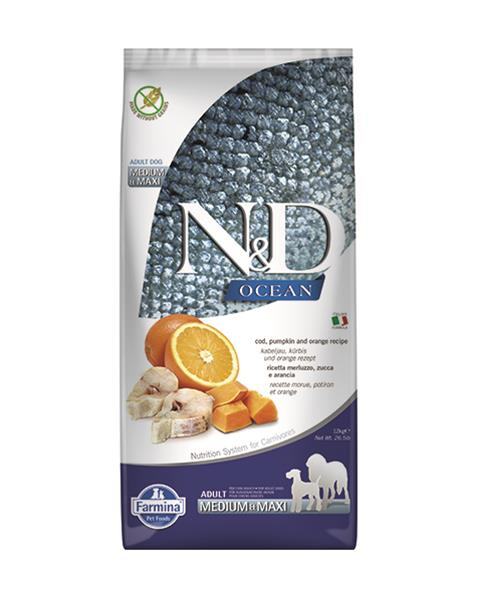 N&D dog GF OCEAN PUMPKIN adult medium & maxi codfish & orange 12 kg