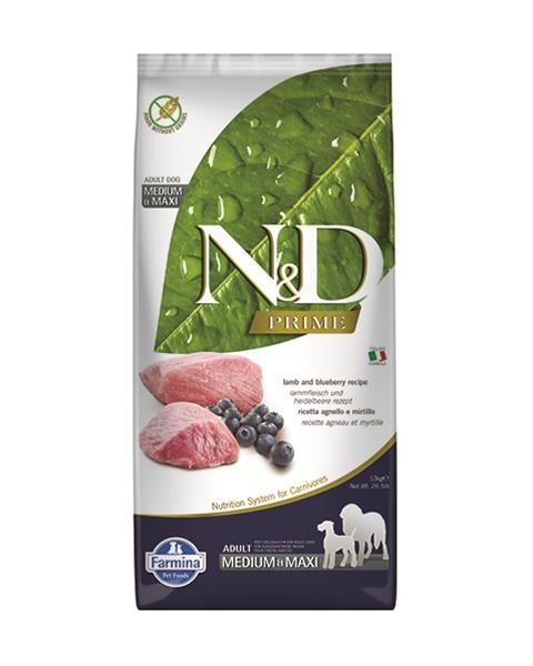 N&D dog Prime (GF) adult medium&maxi lamb&blueberry 12 kg
