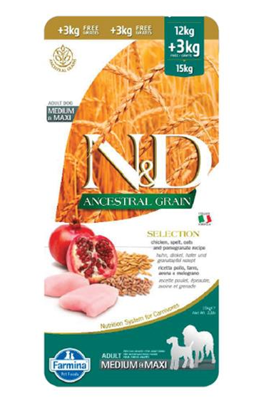 N&D dog AG SELECTION adult medium & maxi, chicken, spelt, oats & pomegranate 12 kg + 3 kg