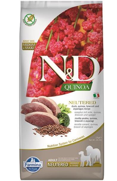 N&D dog QUINOA (GF) adult medium & maxi, neutered, duck, broccoli & asparagus 2,5 kg