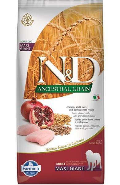 N&D dog ANCESTRAL (AG) adult giant maxi, chicken, spelt, oats & pomegranate 12 kg