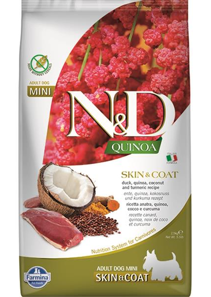 N&D dog QUINOA (GF) adult mini, skin & coat, duck & coconut 2,5 kg