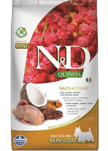 N&D dog QUINOA (GF) adult mini, skin & coat, quail & coconut 2,5 kg