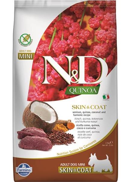 N&D dog QUINOA (GF) adult mini, skin & coat, venison & coconut 2,5 kg