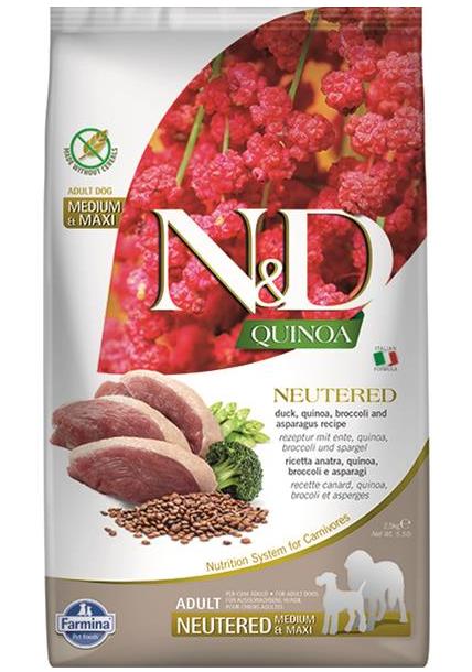 N&D dog QUINOA (GF) adult mini, neutered, duck, broccoli & asparagus 2,5 kg