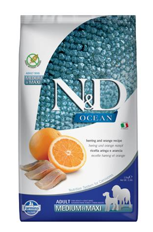 N&D dog OCEAN (GF) adult medium & maxi, herring & orange 12 kg