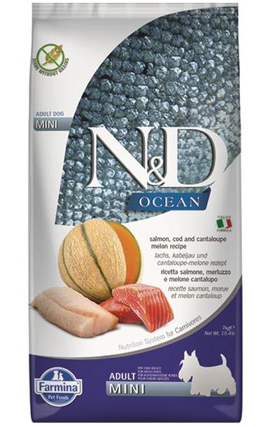 N&D dog OCEAN (GF) adult mini, salmon, cod & cantaloupe melon 2 kg
