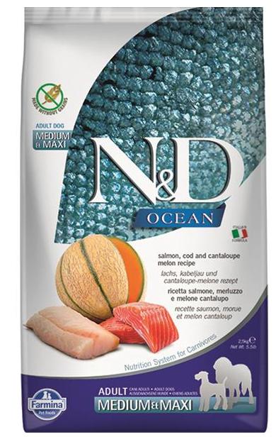 N&D dog OCEAN (GF) adult medium & maxi, salmon, cod & cantaloupe melon 12 kg