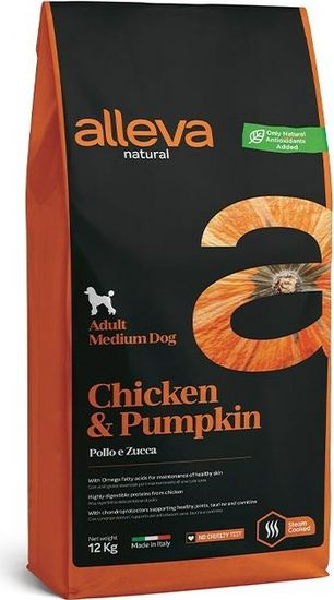 Alleva NATURAL dog chicken&pumpkin adult medium 12 kg