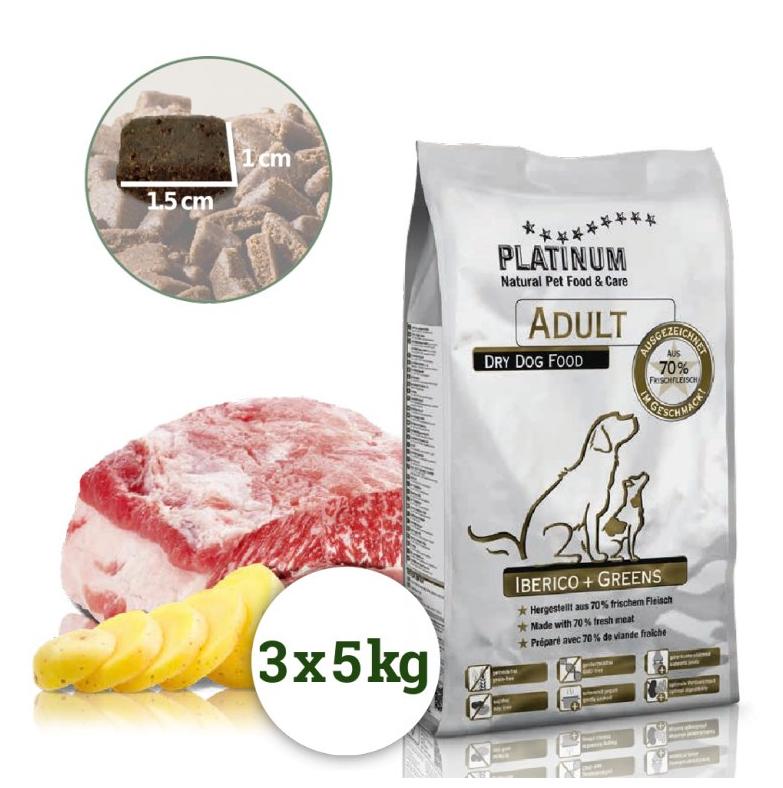 Platinum Natural Adult Iberico+Greens 15kg(3x5Kg)