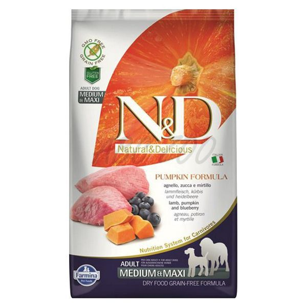 N&D dog PUMPKIN (GF) adult giant maxi, lamb & blueberry 12 kg
