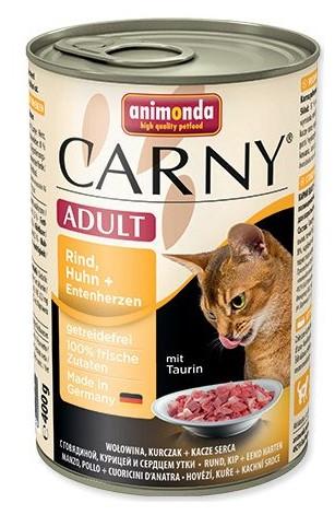 Animonda CARNY® cat Adult hovädzie,kura a kačacie srdiečka 400 g konzerva