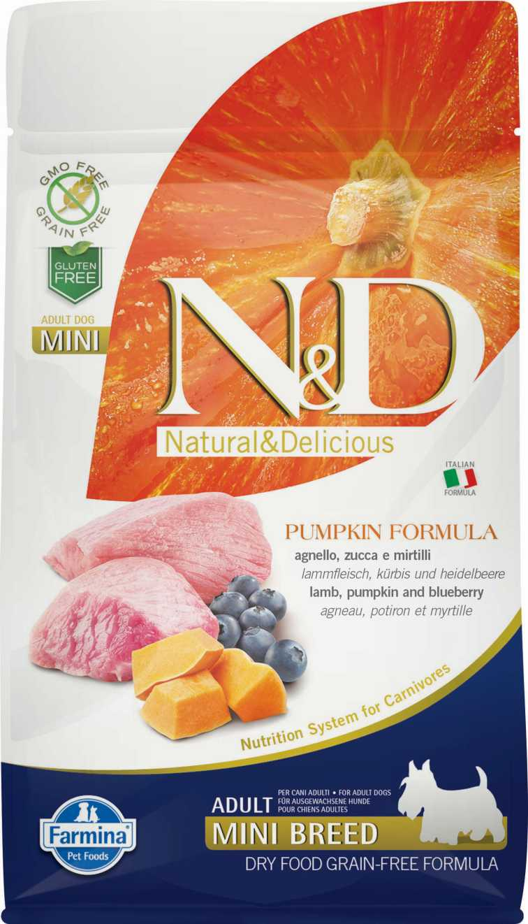 N&D dog GF PUMPKIN adult mini lamb & blueberry 2,5 kg