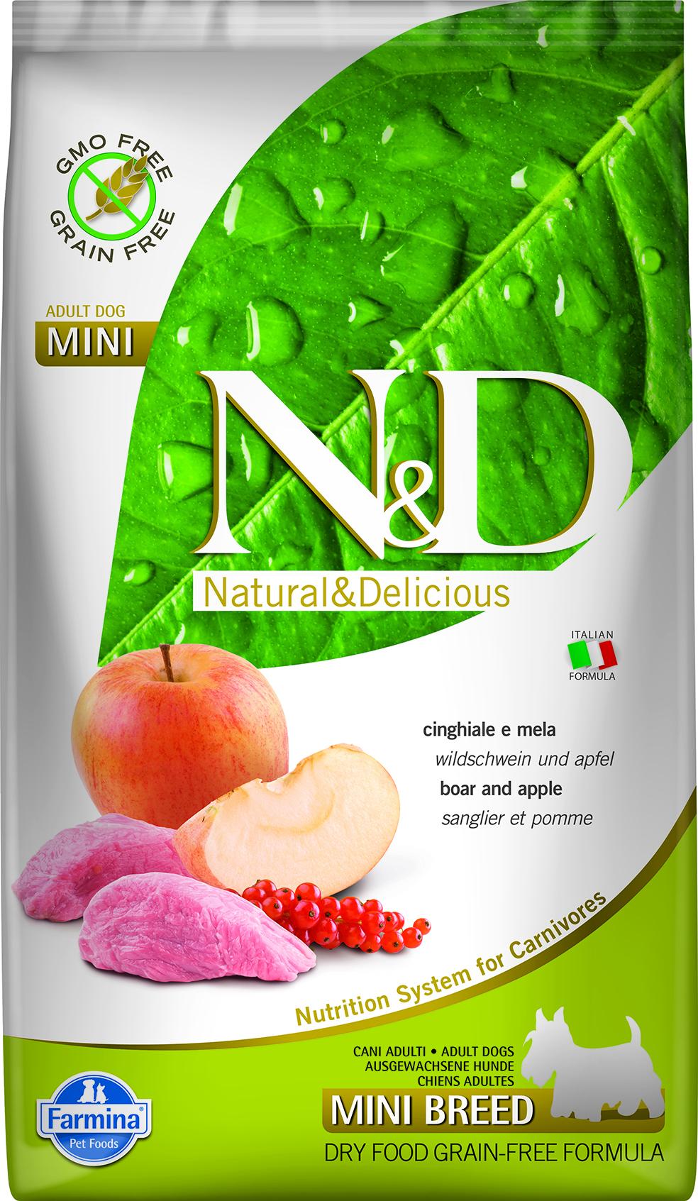 N&D dog GF adult mini boar&apple 7 kg