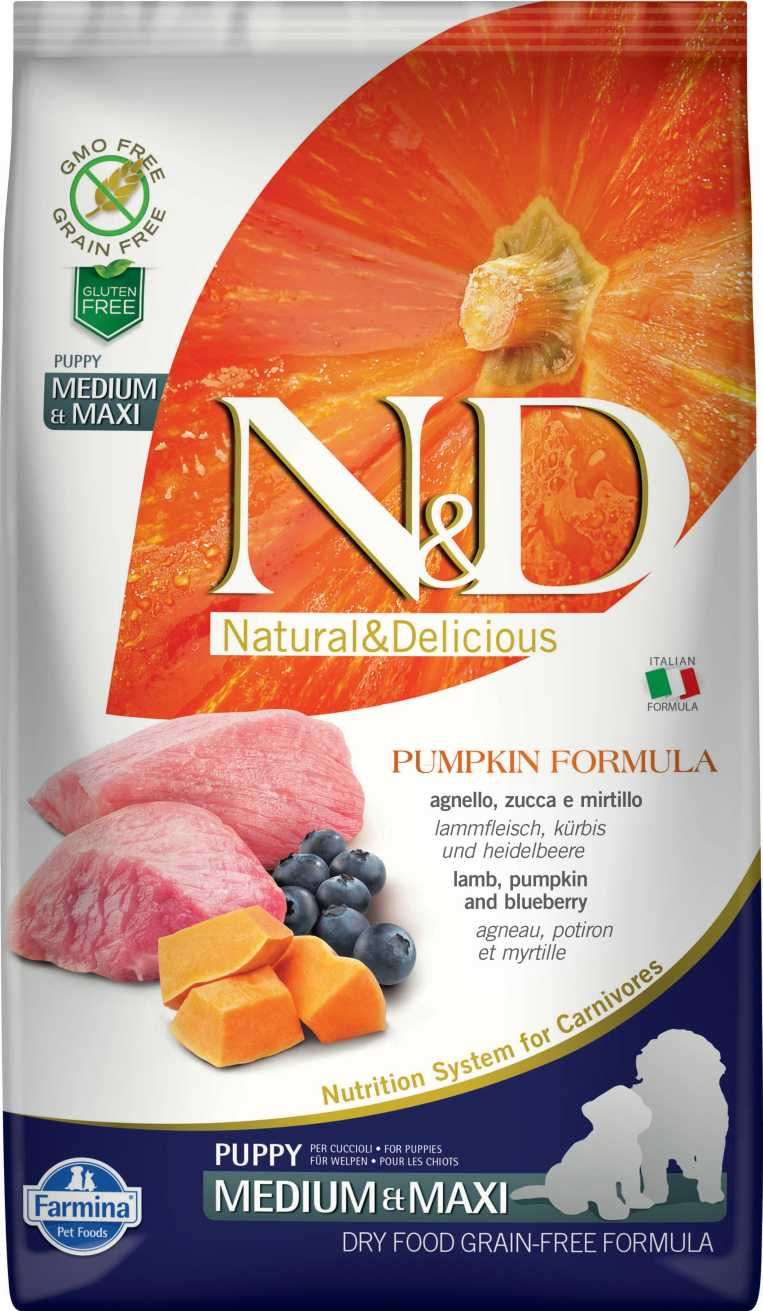 N&D dog GF PUMPKIN puppy medium & maxi lamb & blueberry 12 kg