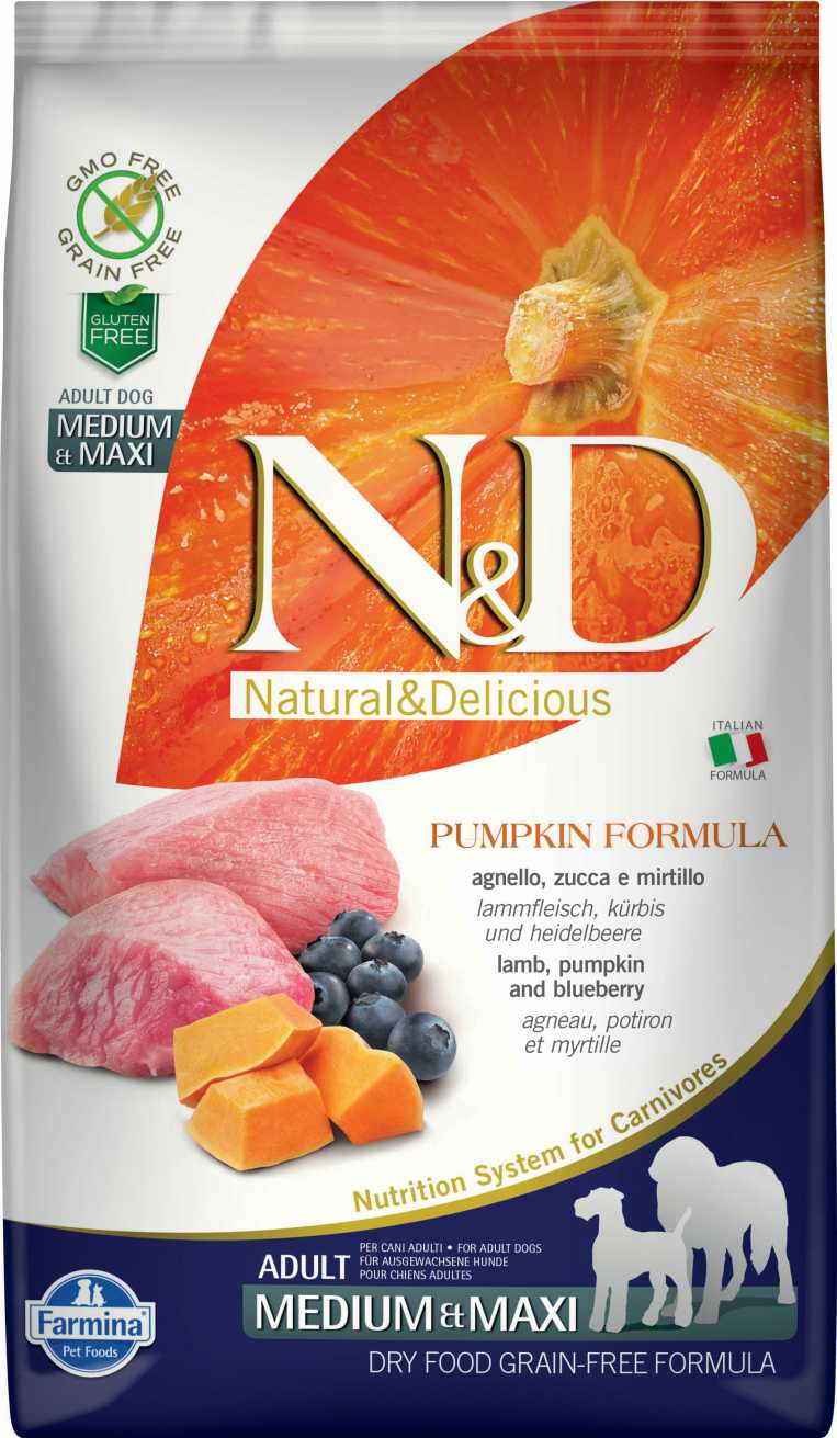 N&D dog GF PUMPKIN adult medium & maxi lamb & blueberry 12 kg