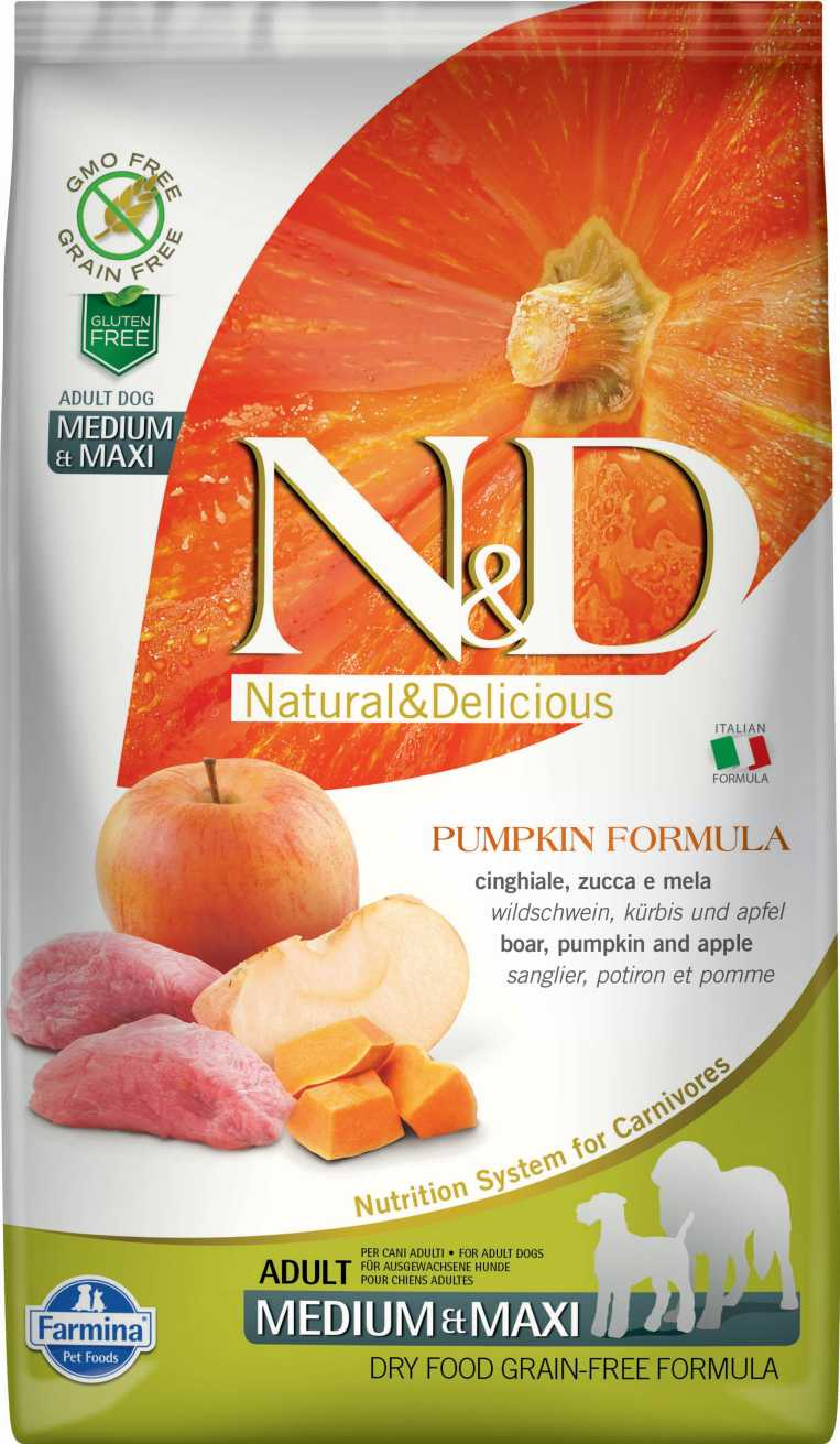 N&D dog GF PUMPKIN adult medium & maxi boar & apple 12 kg