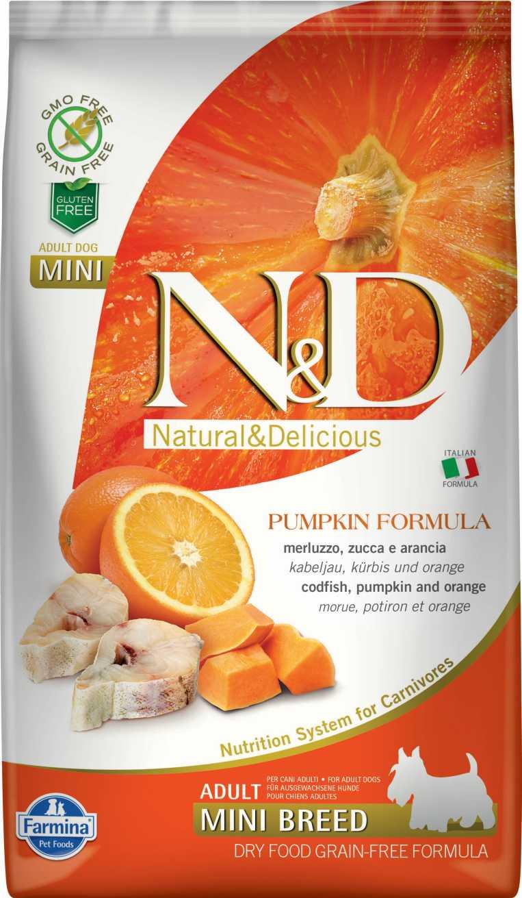 N&D dog GF PUMPKIN adult mini codfish & orange 7 kg