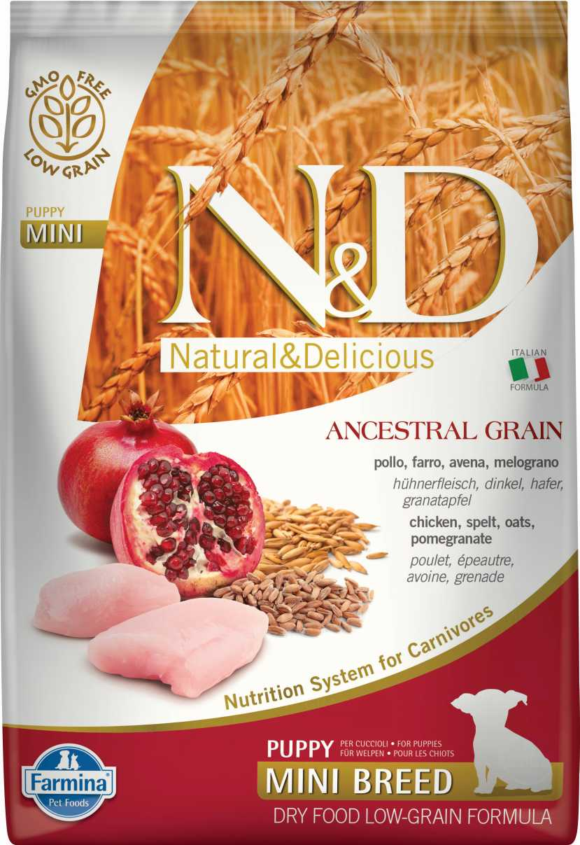 N&D dog LG puppy mini chicken&pomegrante 2,5 kg