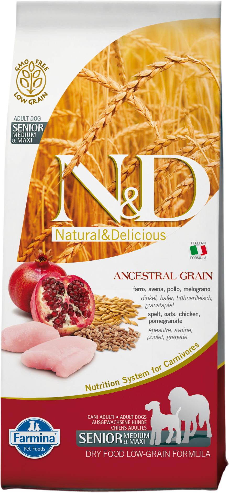 N&D dog LG Senior medium&maxi chicken&pomegranate 12 kg